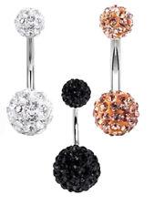 Bauchnabelpiercings Kristall in verschiedenen Farben.