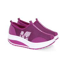 Fashion Women Ladies Running Shoes Mesh Slip On Breathable Sports Casual Shoes