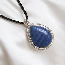 Large Size LAPIS LAZULI Teardrop Shaped PENDANT & Oriental Style Cord Necklace