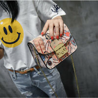 Graffiti Ladies Designer Handbag Women Clutch Chain Bags High Quality Summer Bag