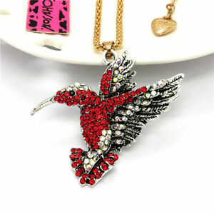 Red Crystal Vintage Hummingbird Pendant Betsey Johnson Sweater Chain Necklace