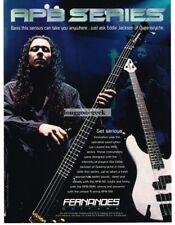 1996 FERNANDES APB Electric Bass Guitar EDDIE JACKSON Queensryche Vintage Ad