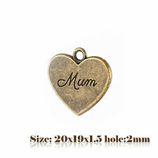"10 Bronze Antique Vintage Style Heart Message ""MUM"" Charms Pendant Steampunk 016"