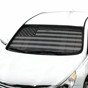 Car Sun Shade Black Flag Front Window Windshield Sunshade Cover Auto Truck SUV