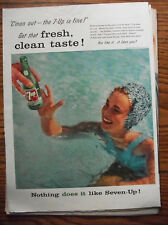 1957 VTG Original Magazine Ad A Plunge In The Pool Can't Do What 7 Up Soda Does