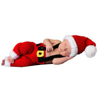 Baby Newborn Photo Photography Props Knitted Santa Claus Hat Outfits Costumes