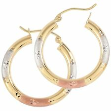 Tri Gold Hoop Earrings14K Round Star Cut Cute Jewelry Gift for Women and Girls