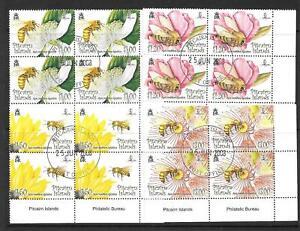 PITCAIRN ISLANDS SG763/6 2008 FLOWERS & BEES IN BLOCKS OF 4 FINE USED