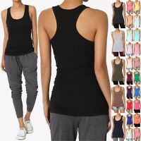 TheMogan Women Basic Scoop Neck Racerback Stretch Cotton Tank Top Sleeveless Tee
