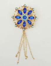 New Golden Aqua Blue Round Flower Good Fortune Crystal Fringed Brooch Pin BR1107