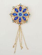 New Golden Aqua Blue Round Flower Good Fortune Crystal Fringe Brooch Pin BR1107A