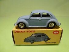 DINKY TOYS 181 VW VOLKSWAGEN  BEETLE - CHROME BOTTOM - LIGHT BLUE 1:43 - IN BOX