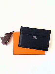 Hermes Citizen Twill card holder Black (Noir/Bleu Thalassa)