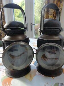 A Pair of Vintage Railway Lamps / Lanterns  Polkey British Rail Signal Complete