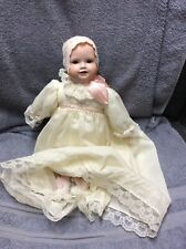 Vintage 17� Bisque Head/Hands/Feet Baby Doll Two Bottom Teeth Cloth Body