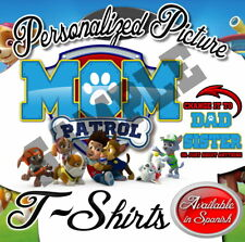 NEW CUSTOM PERSONALIZED PAW PATROL MOM BIRTHDAY WHITE T SHIRT PARTY  ADD NAME