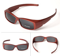 Sport Clip on Polarized wrap around Sunglasses Glasses fit over eyeglass Goggle