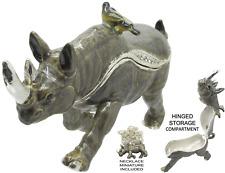 Rhinoceros Jeweled Trinket Box with Austrian Crystals