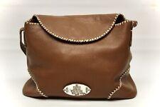 Fendi Selleria Womens Shoulder Bag Brown Leather Contrast Stitch Sterling Silver