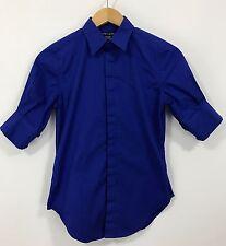 Ralph Lauren Super Slim Fit Womens Blue Button Down Shirt - Size 2