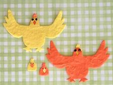 8 Chickens chicks Hen chicken Diecut Handmade Mulberry Paper Easter Scrapbooking
