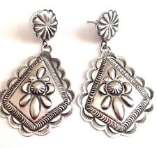 Sterling Silver traditional stamped Earrings by Eugene Charley, Navajo USA post