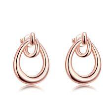 Women's Water Droplet Earrings Ear Stud 18K Rose Gold Filled Fashion Jewelry New