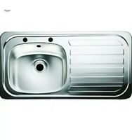 & 1.0 Bowl kitchen Sink Right Hand Drainer Stainless Steel 935x485mm Inset B60