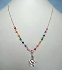"Unicorn Pendant Beaded Rainbow 22"" Chain Necklace"