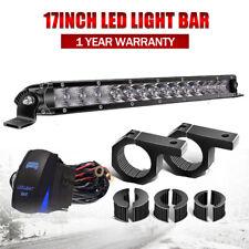 Single-row 17'' LED Work Light Bar Tube Clamp Offroad FOR  Driving Truck UTV ATV