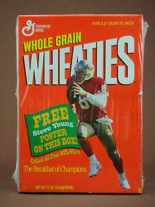 WHEATIES CEREAL FULL BOX SAN FRANCISCO 49ERS STEVE YOUNG FREE POSTER