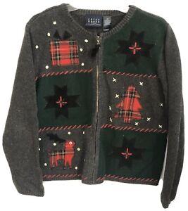 christmas xmas winter holiday Crazy Horse Liz Claiborne medium large m l 8 10 Vintage Red and Black Ribbon Bow Turtleneck Knit Sweater