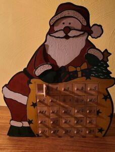 "Vintage Santa Advent Calendar Wooden 25 Doors 16"""