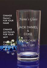 Personalised Engraved Hi ball mixer spirit JACK DANIEL AND COKE glass 5