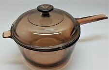 2.5L Corning Ware USA Vision Amber Glass Cooking Pot with Lid