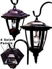 Black Vintage Style Shepard Hook Solar Lantern 1 LED Lamp Garden Yard Path Light