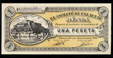 011-INDALO- Denia, Alicante.1 Peseta Septiembre 1936. Con numeración y firmas.SC
