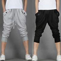 Mens Hip Hop Baggy Sweat Sports Harem Capri Shorts Cropped Trousers Casual Pants