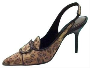 Donald Pliner Couture Leather Pump Shoe New Bronze French Leopard Tapestry $325