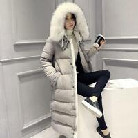New Women Warm Coat Fur Collar Hooded Thicken Long Down Jacket Puffer Parka Size