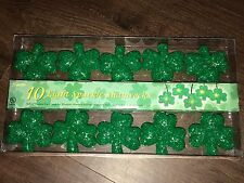 New Set of Ten St. Patrick's Day Green Sparkle Gel Shamrock Lights
