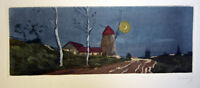Antique Etching Signed NANCY Nightscape Old Windmill Country Houses Barns Road