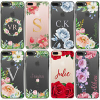PERSONALISED INITIALS FLOWER PHONE CASE CLEAR HARD COVER FOR SAMSUNG S7/S8/S9 +