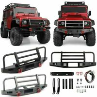 For Traxxas TRX4 Defender Axial SCX10 90046 1/10 RC Metal Front Bumper+LED Lamp