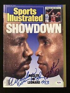 Marvin Hagler Signed Sports Illustrated 4/13/87 No Label v Leonard Autograph PSA