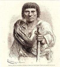 Antique print potrait bolivian Man Eusebio Peru 1870 Quinquinas valley