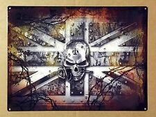 Skull and Rose Union Jack - Tin Metal Wall Sign