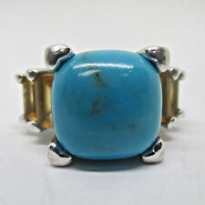 Design Ring Size 7 Sterling Silver Turquoise Stone Cathedral