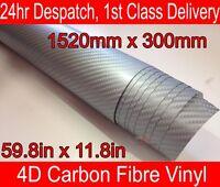 4D Carbon Fibre Vinyl Wrap Film Sheet SILVER 300mm(11.8in) x 1520mm(59.8in)