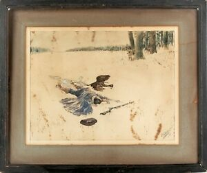 19th Century G W Foster Jr Watercolor Painting 1898 Native American Hunt Scene
